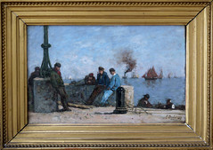 Louis Dubourg, Marins, 1888  Le Havre, muse d'Art moderne, Normandie, dcembre 2013 (Stphane Bily) Tags: museum painting muse peinture mariners normandie normandy marins lehavre andrmalraux musedartmoderne frenchpainter peintrefranais louisdubourg stphanebily vision:text=066 vision:sky=0745 vision:outdoor=0914