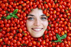 Cherry Tomatoes (.chourmo.) Tags: red texture smile face smiling tomato idea tomatoes francesca basil sorriso rosso pomodori pomodoro cherrytomatoes basilico faccia volto pomodorini nicopiotto