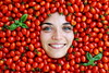 Cherry Tomatoes (.chourmo.) Tags: red texture smile face smiling tomato idea tomatoes francesca basil sorriso rosso pomodori pomodoro cherrytomatoes basilico faccia volto pomodorini ©nicopiotto