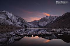 convict lake at twilight (Eric 5D Mark III) Tags: california winter sunset sky usa cloud mountain lake snow reflection water rock canon landscape photography twilight unitedstates sony wideangle mammothlakes easternsierra convictlake tiltshift ericlo a7r 165mm tse17mmf4l tse17l metabones formatthitech lucroit smartadapter eftonex ilce7r