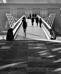 Crossing Over (jaykay72) Tags: street uk blackandwhite bw london candid streetphotography millenniumbridge londonist stphotographia potd:country=gb