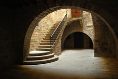 Centre Excursionista de Catalunya - Staircase (olenka :)) Tags: barcelona shadow architecture spain arch pavement steps naturallight courtyard catalonia espana staircase catalunya cloister nikond60 centreexcursionistadecatalunya nikkorafsdx1855mmf3556gvr