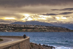 Just a view... (Theophilos) Tags: road sea sky man mountains clouds view ring crete rethymno