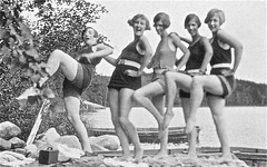Laclu, 1926 (gregorywass) Tags: 1920s girls summer bw white lake ontario black hair fun costume winnipeg kodak style manitoba suit brownie bathing swimmers 1926 laclu
