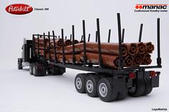 04_Peterbilt_389_classic_with_Manac_forestry_trailer (LegoMathijs) Tags: lego moc legomathijs forestry peterbilt 389 classic minifig scale manac customized trailer wood logging truck wheels amerika canada black logs rigid hose