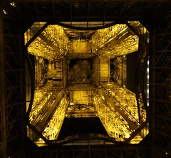 View from the bottom of the Eiffel Tower looking up