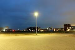 Almere Poort, Almere, FL (Jickatrap) Tags: canon canoneos1300d キヤノン 住宅 郊外 suburbia 道路 ストリート 広場 街灯 ランドスケープ 夜 calle noche luz newtopographics urbanlandscape photographersontumblr オランダ almere almerepoort 黄色 青