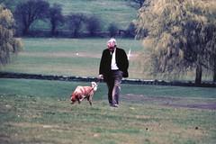 Barnet Area, 1984 (beareye2010) Tags: barnet eastbarnet oakhillpark northlondon dogwalker 1980s 1984 dog walker park