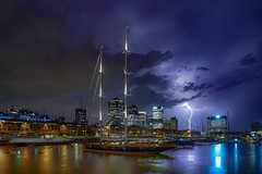 Storm in the city (karinavera) Tags: travel sonya7r2 lightning night landscape argentina buenosaires puertomadero storm cityscape nopeople longexposure city