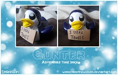 Adventure Time Gunter Duck (Emleelion) Tags: ice cn penguin design duck king pattern jake time thing cartoon vinyl evil rubber adventure plastic most novelty gift ducky network custom finn ever item quack ooo duckies gunter customised