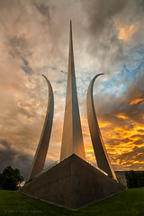 Dramatic Sunset at Air Force Memorial (navinsarma) Tags: sunset red orange clouds washingtondc dc force spires air dramatic airforcememorial