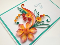 Thinking of You card (joscintacrafts) Tags: birthday flowers red orange flower green leaves paper you handmade anniversary jade thinking daisy swirls congratulations quilling quilled