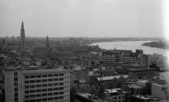 Antwerp (w4lrusss) Tags: blackandwhite panorama film skyline analog vintage landscape grain lightleak antwerp schelde antwerpen anvers cityview scheldt w4lrusss
