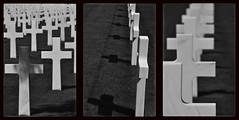 Cimetière Militaire de Colleville-sur-Mer, Calvados, France. (Marie-Laure Even) Tags: 9387 tombe grave cimetière militaire de collevillesurmer américain american cemetery military graveyard travel voyage trip calvados normandie bassenormandie basse normandy 2013 marielaureeven august août summer eté french france français blackwhite noirblanc black and white noir et blanc soldat soldier wwii ww2 world war two second deuxième guerre mondiale débarquement croix cross normand normande française blanche bw nb blackandwhite noiretblanc monochrome