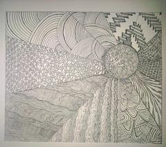 My first zentangle inspired by:http://www.flickr.com/photos/3catnite/3970102925/ (~Vero Nasser~) Tags: blackandwhite drawing zen dibujo dyi zentangle