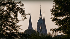 A Distant Spire (Billy-Fish) Tags: light france evening cathedral bokeh spire normandy bayeux distant bayeaux billyfish