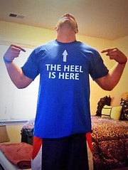 "Vinny A Spano rocking his ""The Heel is Here"" shirt"