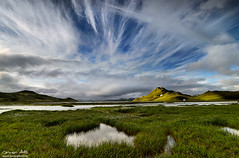 Celestial Feathers - Landmannalaugar, Iceland (orvaratli) Tags: summer sky mountain lake green clouds iceland feather gras landmannalaugar highalnds klingavatn