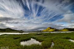 Celestial Feathers - Landmannalaugar, Iceland (orvaratli) Tags: summer sky mountain lake green clouds iceland feather gras landmannalaugar highalnds kýlingavatn