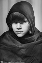 Untitled (Alison Reid Art) Tags: white black female digital photography social portraiture commentary cloaked