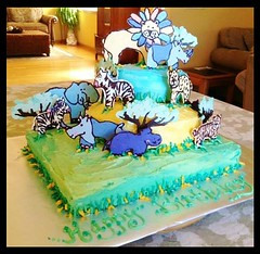 Zoo animals cake by Kathy, Santa Cruz Ca, www.birthdaycakes4free.com