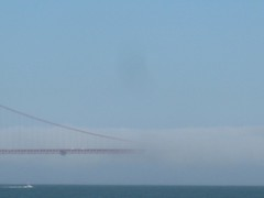 "Golden Gate Bridge in Fog • <a style=""font-size:0.8em;"" href=""http://www.flickr.com/photos/109120354@N07/11042860824/"" target=""_blank"">View on Flickr</a>"