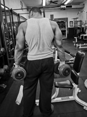 Back to Work (Narratography by APJ) Tags: blackandwhite bw muscles nj strong bodybuilder maplewood apj weightlifter diamondgym narratography