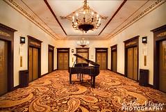 Space for Piano (Nualchemist) Tags: chicago architecture carpet hotel interior piano chandelier midnight elevators thepalmerhouseahiltonhotel