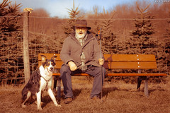 [Experimental] Man and dog resting (Basinbah) Tags: portrait dog pets forest collie experimental outdoor technicolor flowersplants rala