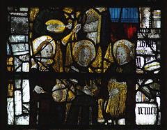 Great Malvern, Worcestershire, priory, stained glass with musical instruments (groenling) Tags: uk greatbritain england window glass angel britain pipe trumpet stainedglass tabor gb malvern worcestershire lute priory plectrum greatmalvern mmiia