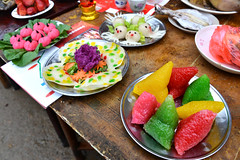 Colorful offerings 祭品 (MelindaChan ^..^) Tags: life china people food house heritage rural countryside colorful village folk country group chinese ceremony culture mel tradition melinda zhejiang offerings 浙江 祭品 chanmelmel melindachan 松陽 小竹溪村排祭 小竹溪村 排祭 colorfulofferings