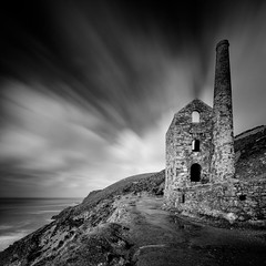 Engine House (Martin Mattocks (mjm383)) Tags: longexposure blackandwhite seascape texture water clouds mono landscapes cornwall coastline stagnes whealcoates canoneos5dmarkii towanroathenginehouse cornwalllandscapes mjm383 martinmattocksphotography