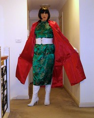 Jaded (3) (Furre Ausse) Tags: red white green asian belt long dress boots coat chinese gloves oriental satin cheongsam