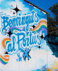 Welcome to Spain ! (Lalykse) Tags: blue espaa elephant muro azul wall arcoiris graffiti rainbow spain grafiti tag border catalonia bleu mur espagne frontera catalua arcenciel elefante 70300 lphant nikond3200 catalogne frontire