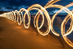 Running with Fire - Garie Beach (alexkess) Tags: feet beach fire sand sydney australia nsw tobias garie royalnationalpark firetwirling gariebeach lightpaintin hühnlich
