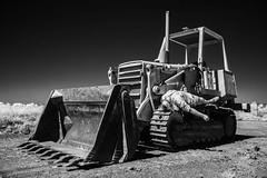 Flat out. (erglis_m (Mick)) Tags: blackandwhite bw monochrome contrast canon ir blackwhite interesting canoneos20d infrared unusual sureal johndeere infraredfilter theoutback centraldesert tanami tanamidesert