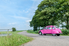 A Really Barby Doll Or Girly Car (Roberto Braam) Tags: 6699tt citroën 2cv azl6 french car voiture pink roze vehicle oldie scenery landscape auto deux chevaux deudeuche deuche classic oldtimer vehikel outdoor groningen thenetherlands european automobile tree plant streetview street road view twincylinder scene aircooled eend ente old holland europe tinsnail steamhorse color paint döschwo girlycar barbydoll 1972 72