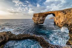 Azure Window (mikedeere) Tags: gozo malta seascape landscape europe eu travel sea mediterranean sunset sky blue azure arch cliff coast pool nikon d800 tamron