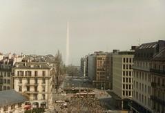 View of Geneva (on film in the 90s) (oberondilettante) Tags: genève geneva switzerland suisse waterworks argentique filmprocessed pellicule jetdeau