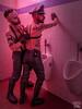 Tom & Joe 03 (WF portraits) Tags: portrait male men leather gayleather harness beard gaybeards couple duo hardon club cruisingbar onlocation blackleather tattoos gaytattoos cap pants boots usa aut