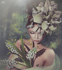 Miranda~The scent of hyacinths... (Skip Staheli *FULLY BOOKED*) Tags: skipstaheli secondlife sl avatar virtualworld dreamy digitalpainting mirandabrinner spring butterflies romantic flowers portrait