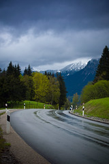 wet road (Jos Mecklenfeld) Tags: road schnee snow mountains alps wet rain clouds germany bayern deutschland bavaria spring rainyday sneeuw bergen alpen lente ricoh duitsland weg frhling oberstdorf allgu beieren allgueralpen gx200 ricohgx200