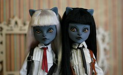 meow meow (Kittytoes) Tags: monster high twins custom mattel dollhouse werecat melancholykitties purrsephone meowlody