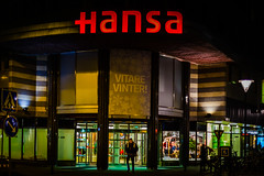 Hansa (Mabry Campbell) Tags: street city man night canon logo photography 50mm photo store skne europe sweden photograph 400 sverige february f18 scandinavia campbell malm malmo hansa 2012 mabry skane ef50mmf14usm canoneos5dmarkii sec mabrycampbell february232012 mabrycampbellcom 201202231889