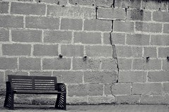The Fall of the House of Usher (Christine Bloom) Tags: white black wall bench spain crack seu vella emptiness lleida