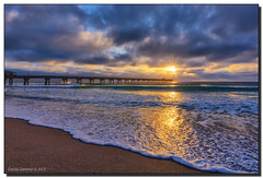 The Same Old Sun Will Shine in the Morning (Fraggle Red) Tags: ocean sun beach water clouds sunrise dawn sand surf florida hollywood northbeach atlanticocean daniabeach singleexposure tonemapping daniabeachpier canonef1635mmf28liiusm browardco dphdr adobelightroom41