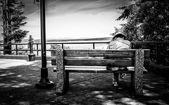 Lonelyman (fujigal) Tags: street man bench photography scenery fuji bc view streetphotography oldman vancouverisland lonely x100 britishcomumbia fujix100s x100s