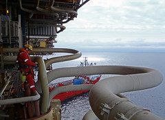 Outboard ultrasonic testing of pipe work (Craig Hannah) Tags: work photography boat industrial ship photos offshore hannah pipes rope images gas northsea craig oil job abseiling height oilrig career ultrasonic ndt ropeaccess ropeaccesstechniques ropeaccessphotos craighannah