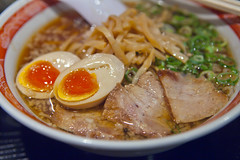 Close-up of Chinese noodle topped with egg, pork and bamboo (DigiPub) Tags: egg bamboo pork   chinesenoodle