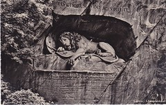 Lwen Denkmal, Luzern,ca. 1944 (Used_Punk) Tags: schweiz switzerland suisse luzern oldpostcards ansichtskarten altepostkarten